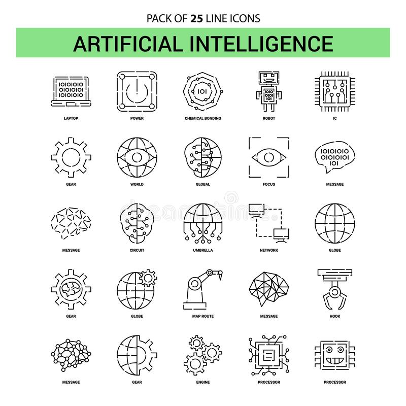 Artificial Intelligence Line Icon Set - 25 Dashed Outline Style stock illustration
