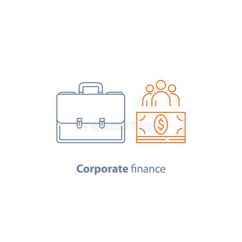 Business loan, company expenses, corporate finance, financial people, share holders, vector line icon royalty free illustration
