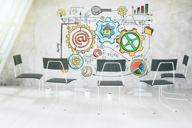 Business scheme concept on concrete wall in light room with chairs. Close up stock image