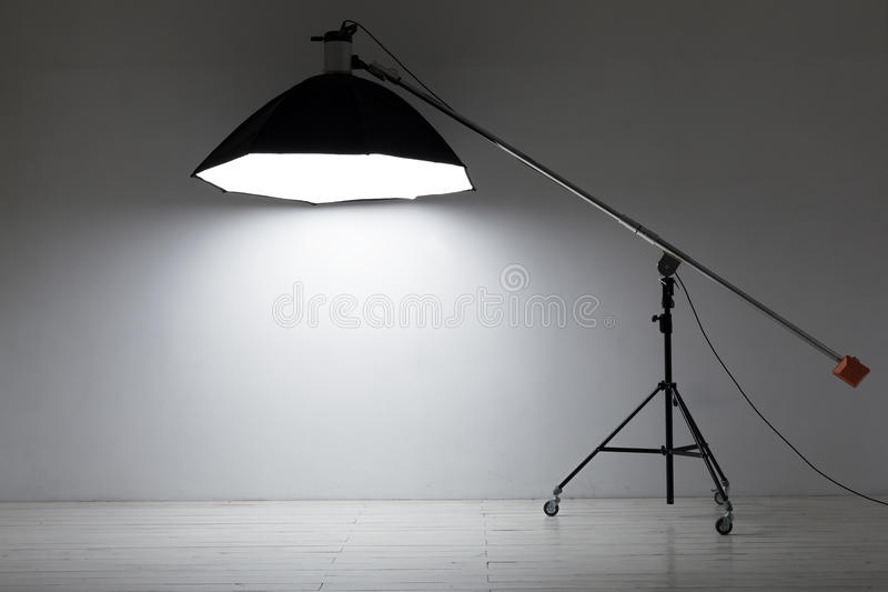 Equipment for photo studios and fashion photography. Empty photo studio with lighting equipment royalty free stock images