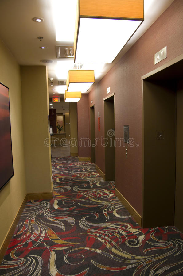 Hotel corridor. With nice colors and lighting stock photography