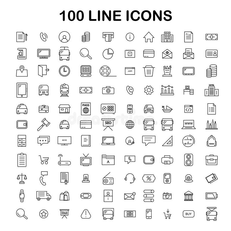 100 line icon set. Trendy thin and simple icons for Web and Mobile. Light version stock illustration