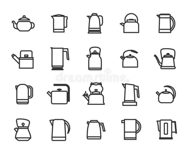 Outline collection of icons of kitchen kettles. stock illustration