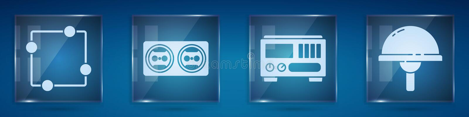 Set Electric circuit scheme, Electrical outlet, Electrical measuring instruments and Light emitting diode. Square glass. Panels. Vector vector illustration