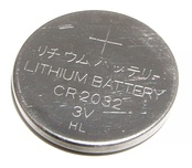 CR2032 lithium button cell battery.