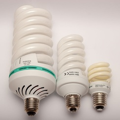 Comparison of compact fluorescent lamp with 105 W, 36 W, and 11 W power consumption