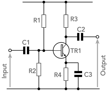 Circuit of a basic common emitter transistor amplifier showing the associated electronic components including resistors an capacitors